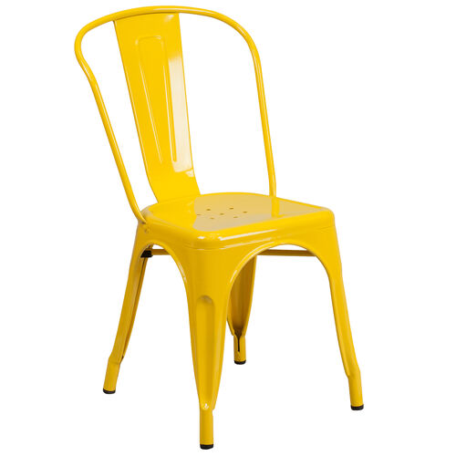 Our Yellow Metal Indoor-Outdoor Stackable Chair is on sale now.