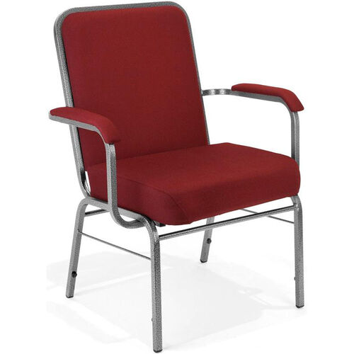 Our Comfort Class Big & Tall 500 lb. Capacity Stack Chair with Arms - Wine Fabric is on sale now.