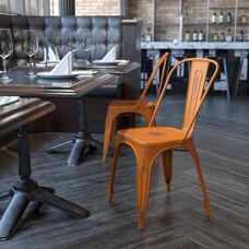 Commercial Grade Distressed Orange Metal Indoor-Outdoor Stackable Chair