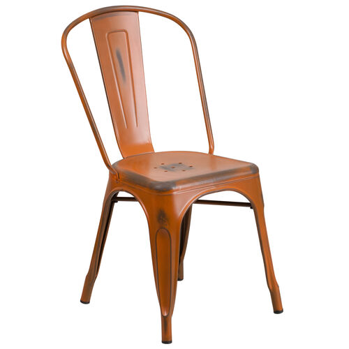 Our Commercial Grade Distressed Orange Metal Indoor-Outdoor Stackable Chair is on sale now.