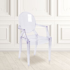 Ghost Chair with Arms in Transparent Crystal