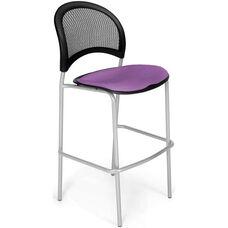 Moon Cafe Height Chair with Fabric Seat and Silver Frame - Plum