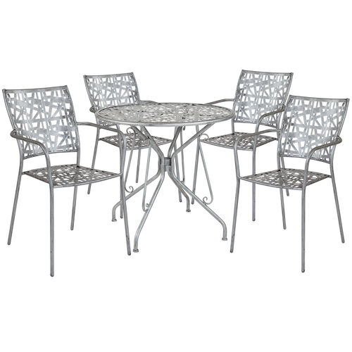 """Our Agostina Series 31.5"""" Round Antique Silver Indoor-Outdoor Steel Patio Table with 4 Stack Chairs is on sale now."""