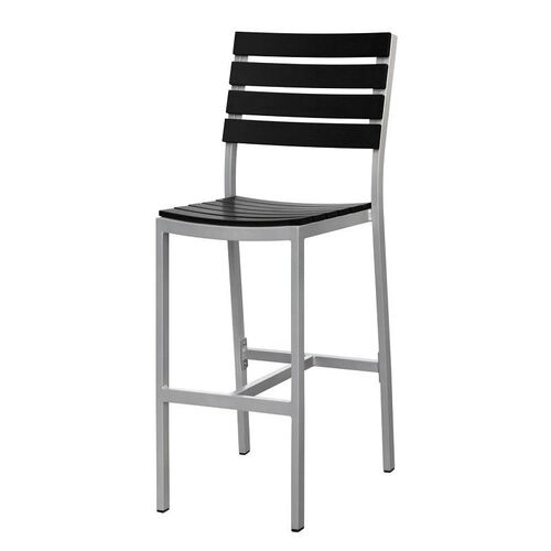 Our Vienna Outdoor Armless Bar Chair with Black Durawood Slat Back and Seat - Silver Finish is on sale now.