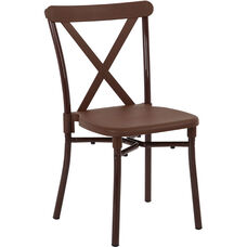 Work Smart X-Back Plastic Stacking Chair with Aluminum Frame - Set of 13 - Includes Dolly - Brown