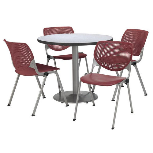Round Laminate Table Set with Burgundy Finish Poly Stack Chairs - Seats 4