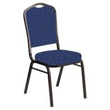 Crown Back Banquet Chair in Abbey Navy Fabric - Gold Vein Frame