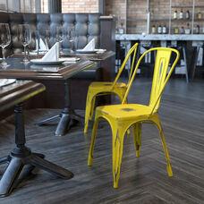Commercial Grade Distressed Yellow Metal Indoor-Outdoor Stackable Chair