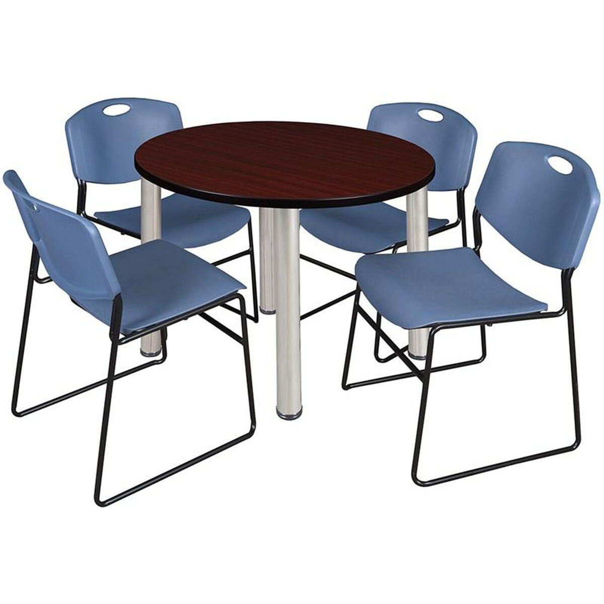 Round Table And Stack Chair Set TBRNDMHBPCMBE StackChairsLesscom - Round conference table for 4