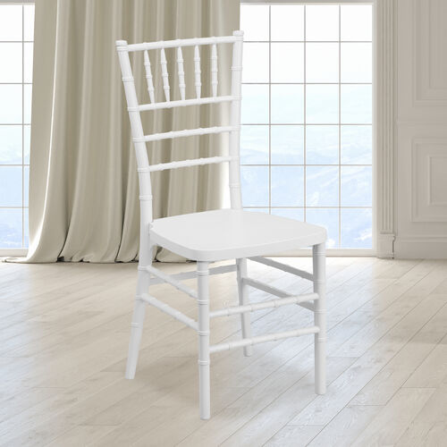 "HERCULES PREMIUM Series White Resin Stacking Chiavari Chair with <span style=""color:#0000CD;"">Free </span> Cushion"