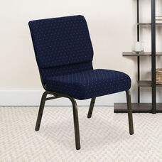 HERCULES Series 21''W Stacking Church Chair in Navy Blue Dot Patterned Fabric - Gold Vein Frame