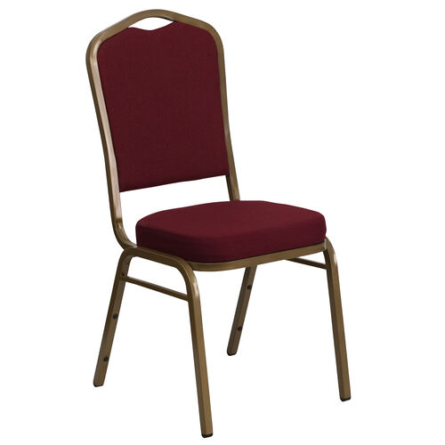 Our HERCULES Series Crown Back Stacking Banquet Chair in Burgundy Fabric - Gold Frame is on sale now.