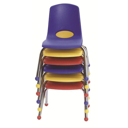 Set of Six Vented Back Matching Seat and Ball Glides Stacking Chairs with Chrome Legs - Assorted Colors
