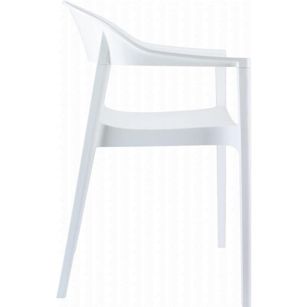 Our Carmen Modern Polypropylene Stackable Dining Arm Chair With Glossy White Back Is