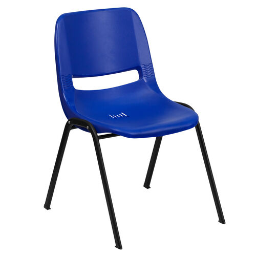 Our HERCULES Series 440 lb. Capacity Navy Ergonomic Shell Stack Chair with Black Frame and 12