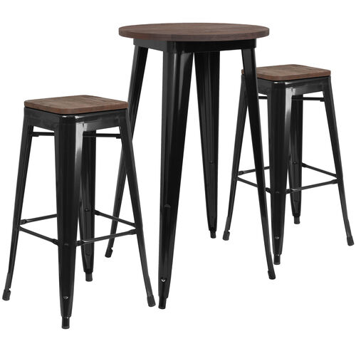 "Our 24"" Round Black Metal Bar Table Set with Wood Top and 2 Backless Stools is on sale now."