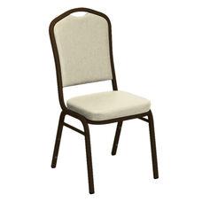 Crown Back Banquet Chair in E-Z Sierra White Vinyl - Gold Vein Frame