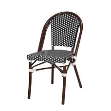 Paris Indoor/Outdoor Stackable Armless Side Chair with Dark Bamboo Aluminum Frame - Black and White
