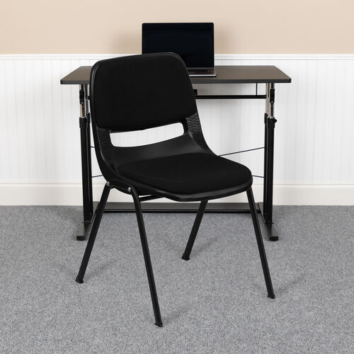HERCULES Series 880 lb. Capacity Black Padded Ergonomic Shell Stack Chair with Black Frame