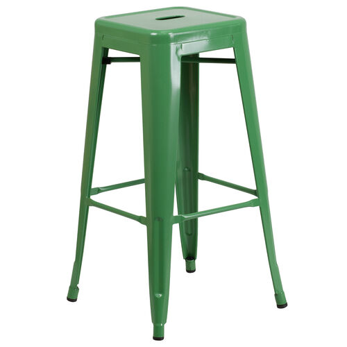 "Our Commercial Grade 30"" High Backless Green Metal Indoor-Outdoor Barstool with Square Seat is on sale now."