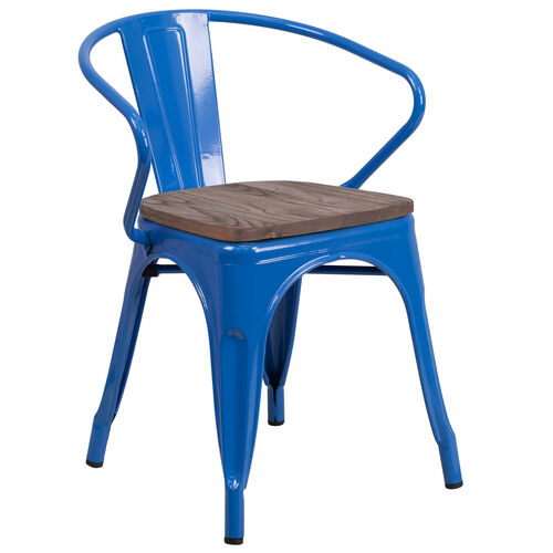 Our Blue Metal Chair with Wood Seat and Arms is on sale now.