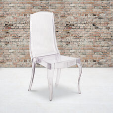 Flash Elegance Crystal Ice Stacking Chair with Full Back Vertical Line Design