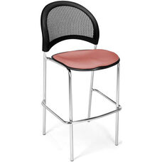 Moon Cafe Height Chair with Fabric Seat and Chrome Frame - Coral Pink