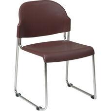 Work Smart Stack Chair with Plastic Seat and Back and Steel Frame - Set of 4 - Burgundy