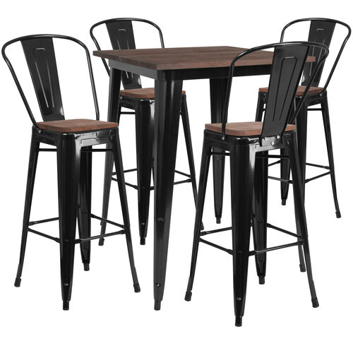 """Our 31.5"""" Square Black Metal Bar Table Set with Wood Top and 4 Stools is on sale now."""