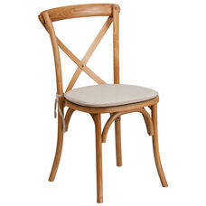 HERCULES Series Stackable Oak Wood Cross Back Chair with Cushion