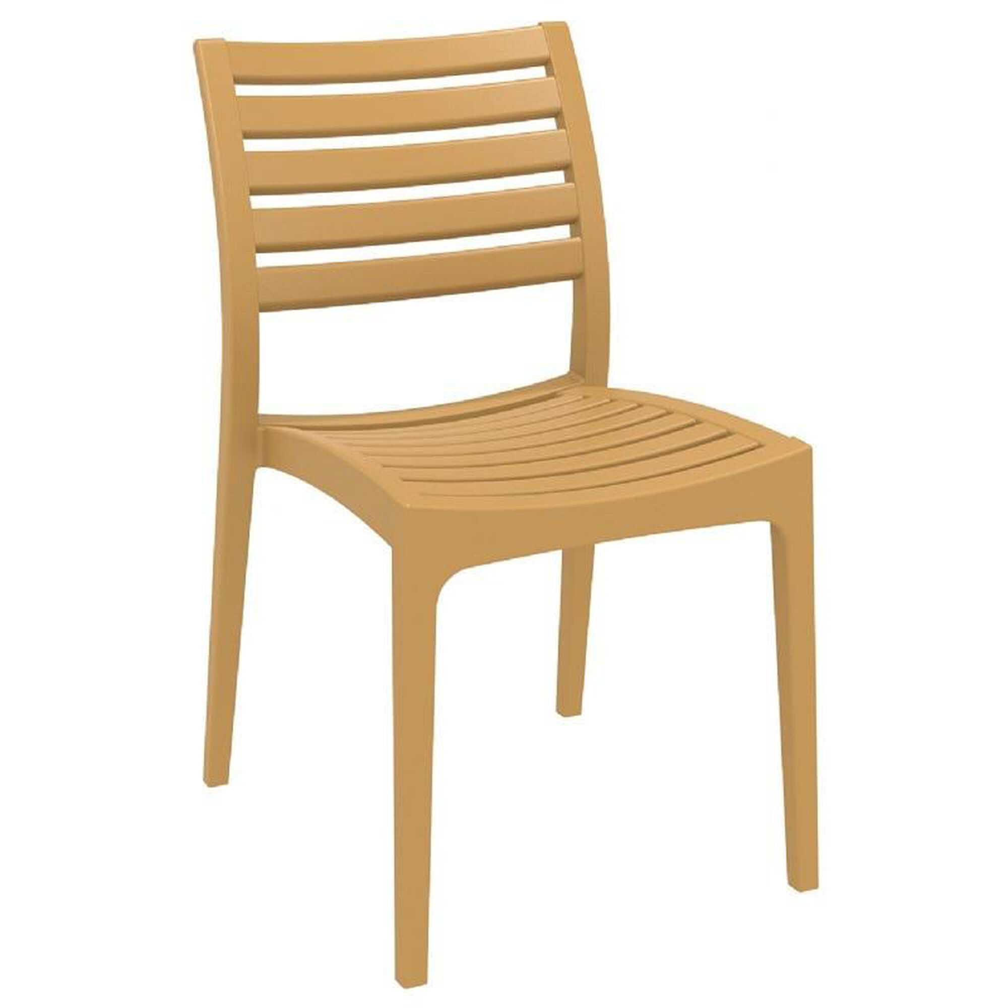 Outstanding Ares Resin Outdoor Stackable Dining Chair Teak Brown Ncnpc Chair Design For Home Ncnpcorg