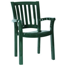 Sunshine Outdoor Resin Stackable Dining Arm Chair - Dark Green