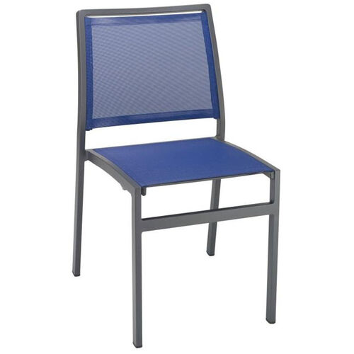 Our South Beach Collection Stackable Aluminum Outdoor Side Chair with Textile Back and Seat - Blue is on sale now.