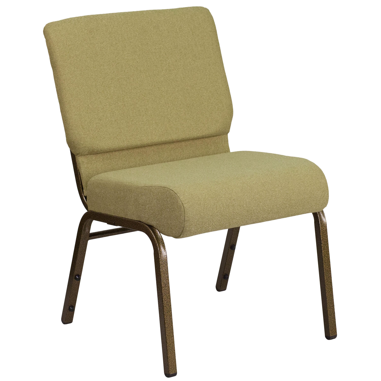 ... Our HERCULES Series 21u0027u0027W Stacking Church Chair In Moss Green Fabric    Gold ...