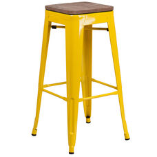 "30"" High Backless Yellow Metal Barstool with Square Wood Seat"