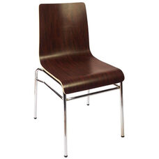 Abby Stackable Side Chair - Mahogany Laminate Seat and Chrome Frame