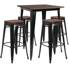"31.5"" Square Black Metal Bar Table Set with Wood Top and 4 Backless Stools"