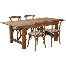 HERCULES Series 7' x 40'' Antique Rustic Folding Farm Table Set with 4 Cross Back Chairs and Cushions