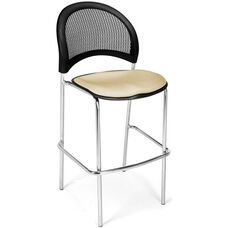 Moon Cafe Height Chair with Fabric Seat and Chrome Frame - Khaki