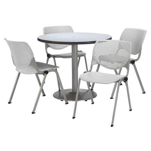 Round Laminate Table Set with Light Grey Finish Poly Stack Chairs - Seats 4