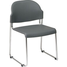 Work Smart Stack Chair with Plastic Seat and Back and Steel Frame - Set of 4 - Grey