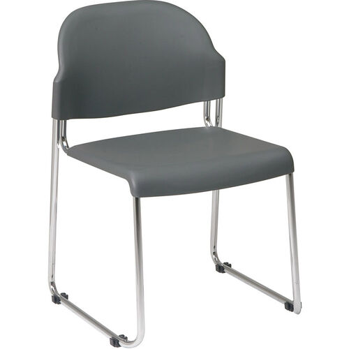 Our Work Smart Stack Chair with Plastic Seat and Back and Steel Frame - Set of 4 - Grey is on sale now.