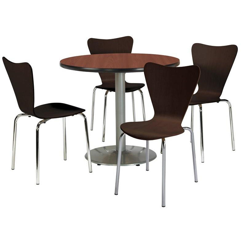Genial ... Our 42u0027u0027 Round Mahogany Laminate Table Set With Espresso Finish Wood  Cafe Stack Chairs