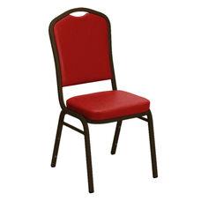 Crown Back Banquet Chair in E-Z Sierra Red Vinyl - Gold Vein Frame