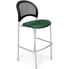 Moon Cafe Height Chair with Fabric Seat and Silver Frame - Forest Green