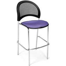 Moon Cafe Height Chair with Fabric Seat and Chrome Frame - Lavender