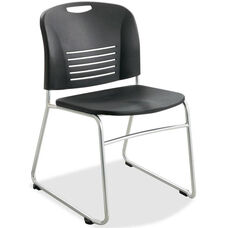 Safco Black Plastic Stacking Armless Chairs with Sled Base and Steel Frame - Set of 2