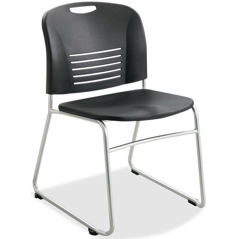 Superb Black Plastic Stacking Chairs #22 - ... Our Safco Black Plastic Stacking Armless Chairs With Sled Base And  Steel Frame - Set Of