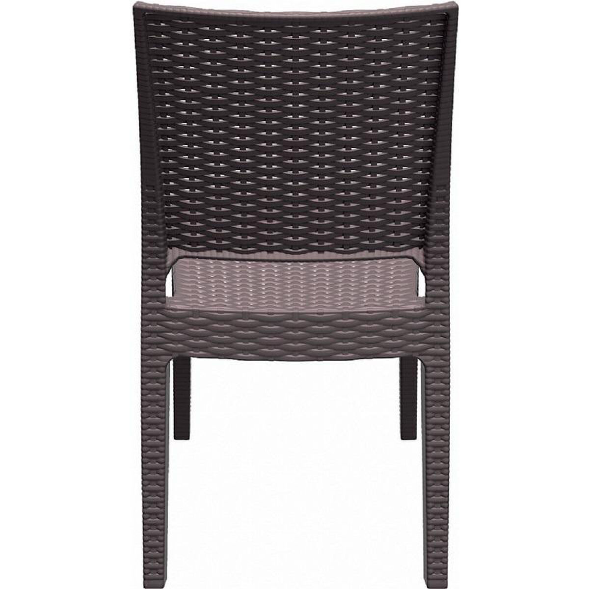 Astounding Florida Outdoor Wickerlook Resin Stackable Dining Chair Brown Ncnpc Chair Design For Home Ncnpcorg