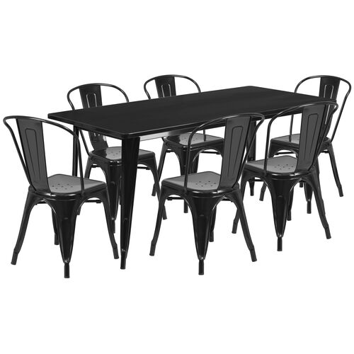 """Our Commercial Grade 31.5"""" x 63"""" Rectangular Black Metal Indoor-Outdoor Table Set with 6 Stack Chairs is on sale now."""